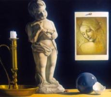 Antoine Cavalier - Peinture hyperrealiste a l huile sur toile 10 -  50x40cm -  Priere pour le monde  - Tableau vendu
