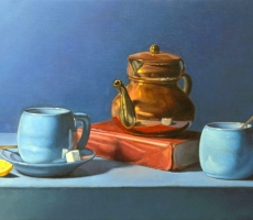 Antoine Cavalier - Peinture hyperrealiste a l huile sur toile 2 -  35x28cm -  Pause cafe  - Tableau vendu