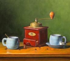 Antoine Cavalier - Peinture hyperrealiste a l huile sur toile 4 -  50x40cm -  Instant partage  - Collection privee