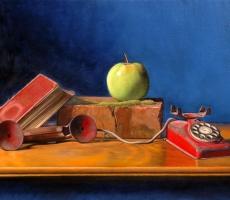 Antoine Cavalier - Peinture hyperrealiste a l huile sur toile 6 -  50x40cm -  L attente  - Collection privee