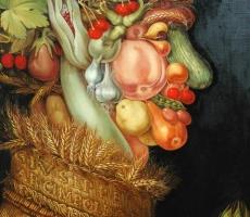 Antoine Cavalier - Portrait hyperrealiste a l huile sur toile 5 -  90x70cm  - Copie de Arcimboldo - Tableau fait sur commande