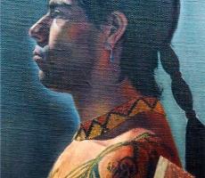 Antoine Cavalier - Portrait hyperrealiste a l huile sur toile 7 -  75x60cm  - L indien - Tableau vendu